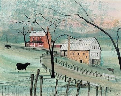 Baylor's Mill limited edition print by P Buckley Moss features a mill in Virginia in a landscape of shades of green with rose house building and cream and white barn.
