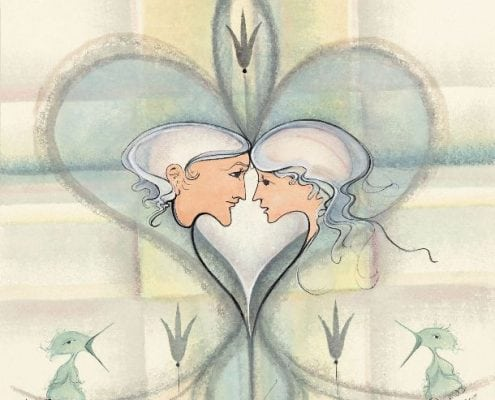 Beloved limited edition print by P. Buckley Moss is a modern artwork of a couple in love, facing each other, inside a heart in soft colors of cream and light teal. Baby birds singing sweetly in the lower portion of the print with a few flower stems on lined background.