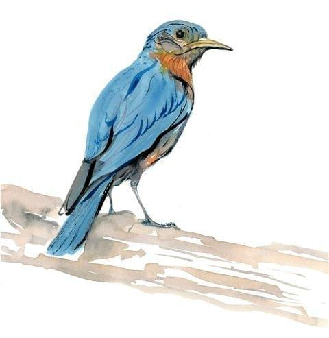 The bluebird limited edition print by P Buckley Moss in shades of blue, tans and earth tones and a hint of rust.