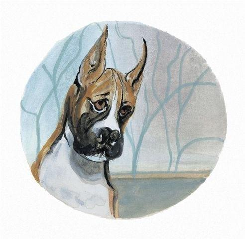 Boxer from the dog collection of artist P Buckley Moss features the boxer breed in colors of brown and white with black muzzle. Background in grays and light blue.