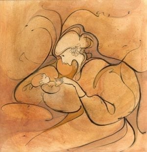 Cherished Babe limited edition print features mother with babe in arms in warm colors of peach, rust and very light orange and cream.