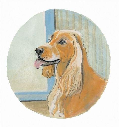 Cocker Spaniel limited edition print by P Buckley Moss features a golden color dog with background of light and dark shades of aqua, cream and green.