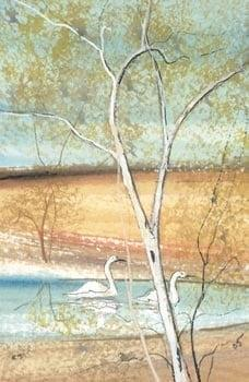Country Courtship is a limited edition print by P Buckley Moss featuring a landscape with small leafy tree and pond. White birch tree, shades of turquoise pond and golden and cream land.