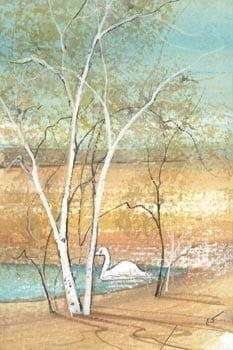 Country Peace is a limited edition print by P Buckley Moss featuring a landscape with small leafy tree and pond. White birch tree, shades of turquoise pond and golden and cream land.