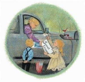 Delivering Sweet Dreams features Children delivering sweet dreams of love to the postman who will send their love messages to family and friends Art by P Buckley Moss..