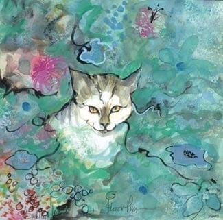 Flower Puss limited edition by P Buckley Moss features a gray and white cat in a garden of blue, green and pink flowers with a speck of black for highlights.