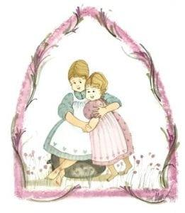 Sisters in Arms is a rare limited edition print that features two girls or sisters embracing each other. Floral border in the form of a pointed arch over the girls.