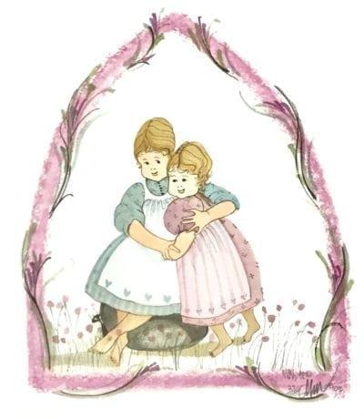 Sisters Love is a rare limited edition print that features two girls or sisters embracing each other. Floral border in the form of a pointed arch over the girls. Pinks and blues.