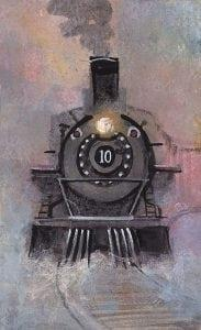 Full Speed Ahead limited edition print by P Buckley Moss features a train engine in colors of black, gray, mauve, lavender, purples and blue.