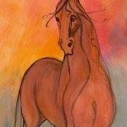 Goldie is a limited edition giclee print on canvas by P Buckley Moss. Enjoy the texture. Very colorful background with pops of orange and rose to compliment the rust colors of the horse.