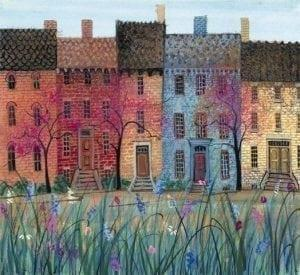 Graced by Spring limited edition print by P Buckley Moss featuring soft colored buildings with spring flowers in the foreground. Vibrant colors of reds, blue, golds, greens and cream.