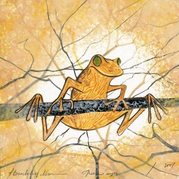 Green Eyes limited edition print by P Buckley Moss. Playful golden frog hanging from the branches of a tree.
