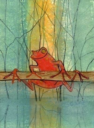 Red frog hanging on a branch with tree branches in a background of shades of blue-green and a splash of golden colors.