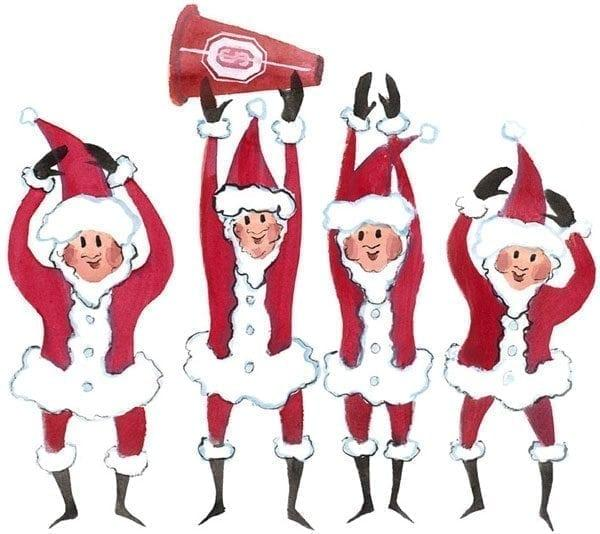 Ho! Ho! Ohio is a full little art print by P Buckley Moss. Santas dressed in red suits Holing up O-H-I-O.