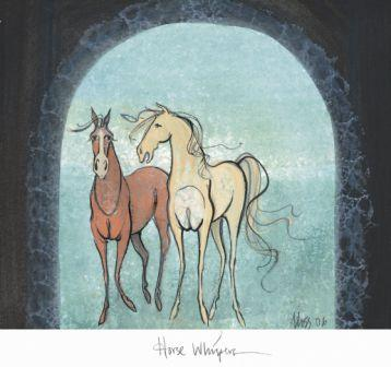 Horse Whispers limited edition print by P Buckley Moss features two playful horses, one chestnut, one cream colored prancing in a background of soft aqua with a splash of green. Artist arch over the two horses in shades of dark greenish black.