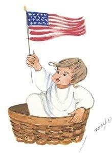 July's Baby, Baby Months of the year series (A child print representing each month) captures the love of artist, P. Buckley Moss, for children and family. Colors of red, white and blue for the flag, white and gray plus tans and rust in the basket.