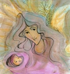 Mia Madre limited edition print by P Buckley Moss features mother and child in shades of lemon yellow, blue, green, gray, pinks and rose.