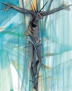 My All is a limited edition print by P Buckley Moss featuring Christ on the cross. Colors are turquoise with a splash of gold and white blank spaces.