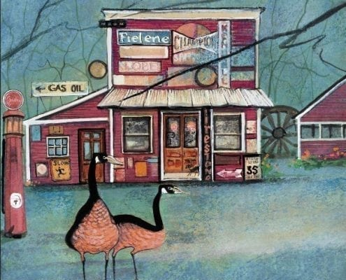 Clifton Mill gas station as depicted by P Buckley Moss. The vintage building is covered in old signs and promises to take you back to your childhood.