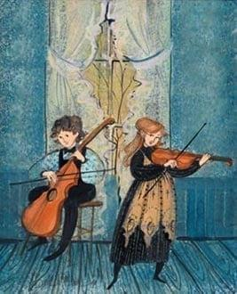 Parlor Duet limited edition print by P Buckley Moss features a young boy and girl both playing string instruments.