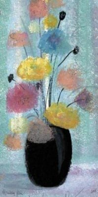 Rainy Day Through the Window limited edition wall art print by P Buckley Moss features a vase of colorful flowers in a burst of blue, rose, yellow, gold and pink colors.