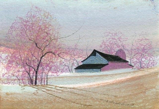 Cercis canadensis, eastern redbud is a large deciduous shrub or small tree, nativeto eastern North America. It is the state tree of Oklahoma. Art print by P Buckley Moss in colors of rose and pinks with tans in the landscape, blues for the sky and barn and white for the fencing.