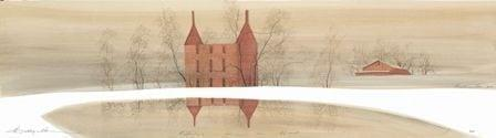 Reflections From The Heart limited edition print by P Buckley Moss features an iconic three story house in rust with earthtones in background.