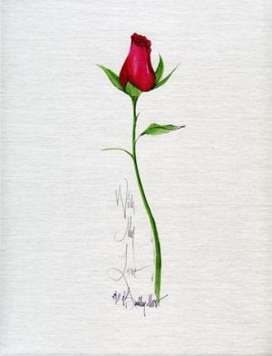 With My Love limited edition print by P Buckley Moss, long stemmed red rose on brushed silver Metal plate