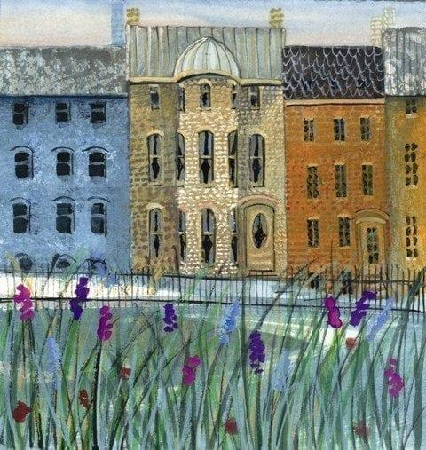 Row Houses in Spring limited edition print features P Buckley Moss iconic row houses in a park setting with a purple flower garden in foreground. Additional colors of Blue, rust and cream, greens and purple.