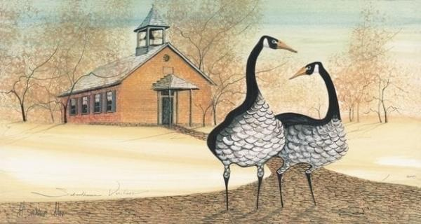 Schoolhouse Visitor limited edition print by P Buckley Moss depicts an historic school building in Clark County, Springfield Ohio