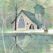 Spring at Callaway Chapel limited edition print by P Buckley Moss features a small church in a wooded area in colors of soft turquoise, blues and cream with white and black trees.