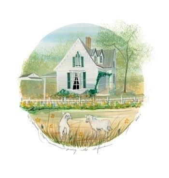 Spring at Home limited edition print by P Buckley Moss features a white house with Spring flowers and Spring lambs in front of the house. White, greens, a touch of blue and golden tan.