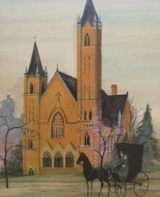 St. Raphaels Church signed and numbered limited edition print by P Buckley Moss features a church in Springfield, Ohio built in the 1800's. Peach coloring to the brick with black roof, a horse and buggy in the forefront and greenery around the building.
