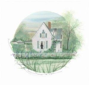 Summer at Home limited edition print by P Buckley Moss features a white house with Spring flowers in greens, accented with lavender, and pink flowers.