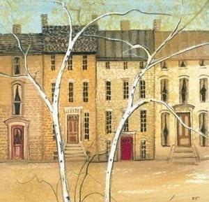 Township limited edition print by P Buckley Moss features a row house scene with white birch trees in the foreground and the buildings are shades of neutrals where the tones range from golden to lighter tones. Love the red door!