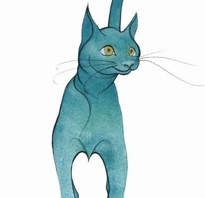 Whimsical interpretation of a beautiful turquoise cat by artist P Buckley Moss