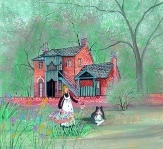 Wee House in the woods limited edition print by P Buckley Moss features the historic landmark where the first fold song festive was held in the Ashland, KY area. Colors of green in the background with a rose colored house ane steal gray roof.