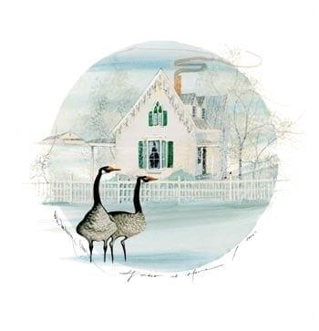 Winter at Home limited edition print b P Buckley Moss features a winter home scene with two black and gray geese in the front yard. Blues with a touch of green and tans.