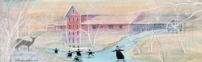 Winter Skaters at Clifton Mill is a limited edition of prints by P Buckley Moss. Featuring the Clifton Mill and gorge area.