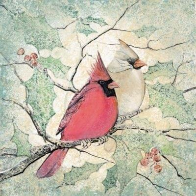 Winter Together limited edition print features male and female cardinals on a branch with holly leaves and berries for background.