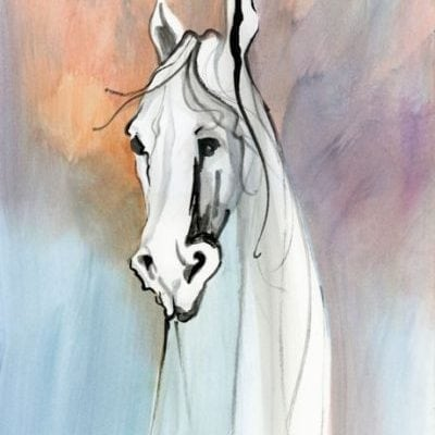 Wise Spirit limited edition print on canvas by P Buckley Moss features the neck and head of a white horse with a colorful background of peach, blues and grays.