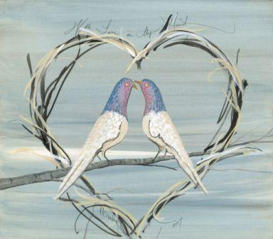 With Love in my Heart print by P Buckley Moss is two birds in a heart shaped wreath on a branch.