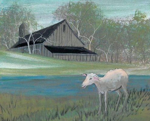 Across the Meadow limited edition print by P Buckley Moss features a baby lamb with a barn in the background. Shades of fer green and a splash of turquoise.
