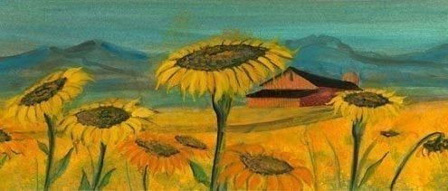 Field of Sunshine limited edition giclee print by P Buckley Moss features a field of sunflowers with yellows, orange in the flowers and a turquoise sky.