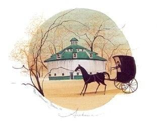 Four Seasons, Autumn limited edition print by P Buckley Moss features her AMish buggy and horse, round barn with a tan, cream and lite green background.