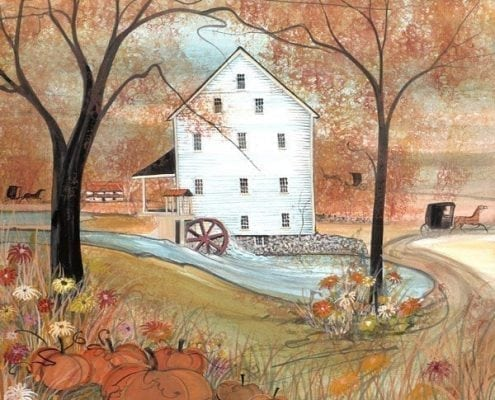 Silver Lake Mill limited edition print by P Buckley Moss features a Virginia Mill in autumn with warm fall colors of orange, yellow, rust and accents of blue and white. Black iconic P B Moss trees.