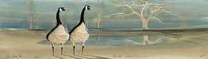Beach Combers limited edition print by P Buckley Moss features two geese at a lakefront view. Turquoise and earth tones.