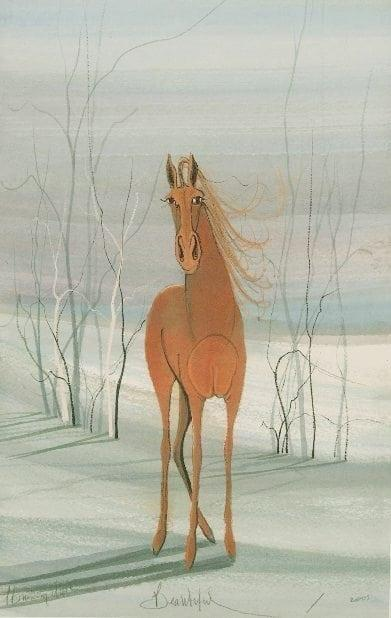Beautiful limited edition print by P Buckley Moss features a single horse in shades of rust standing against a background of light green with a touch of white, cream and blush.