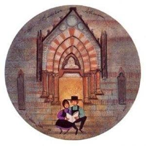 Berkshire Athenaeum limited edition print features a small girl and boy sharing a book outside the Althenaeum in Massachusetts.