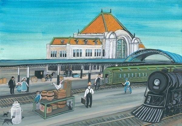 Big Four limited edition print by P Buckley Moss shows train station in downtown Springfield Ohio. Demolished in 1969.